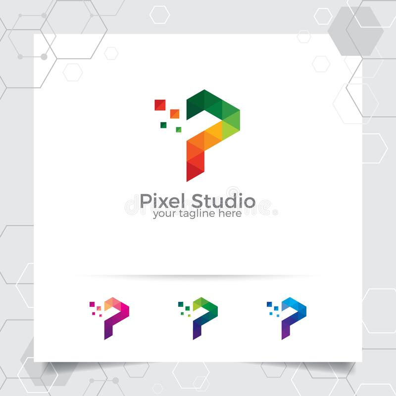 Digital logo letter P design vector with modern colorful pixel for technology, software, studio, app, and business. Technology royalty free illustration