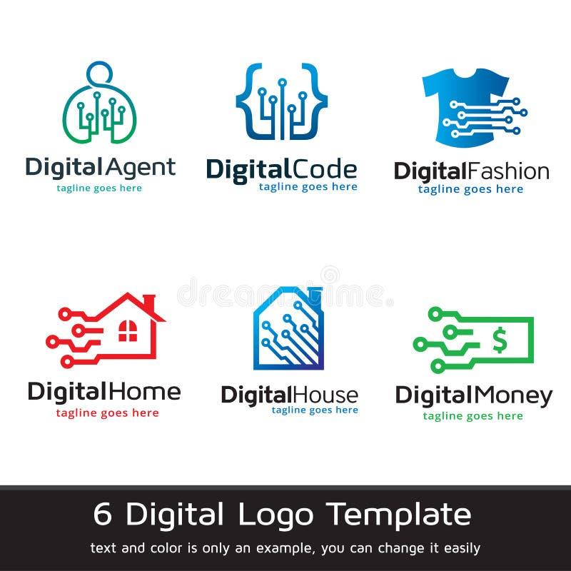 Digital Logo Template Design Vector vektor illustrationer