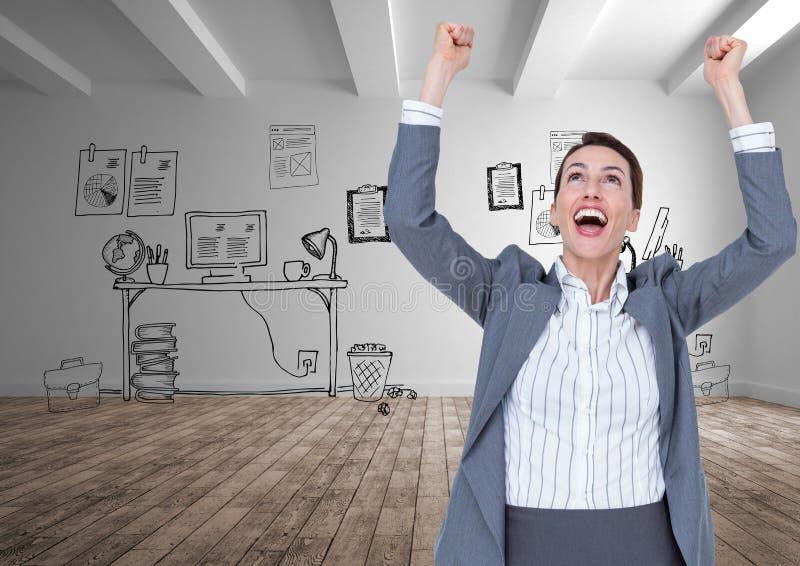 Digital lyftte den sammansatta bilden av den upphetsade affärskvinnan med armar anseende mot kontorsteckningar royaltyfri foto