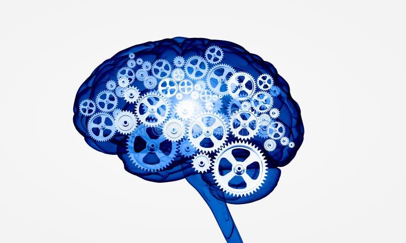 Digital mänsklig hjärna royaltyfri illustrationer