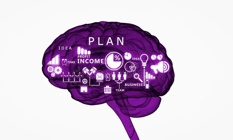 Digital mänsklig hjärna stock illustrationer