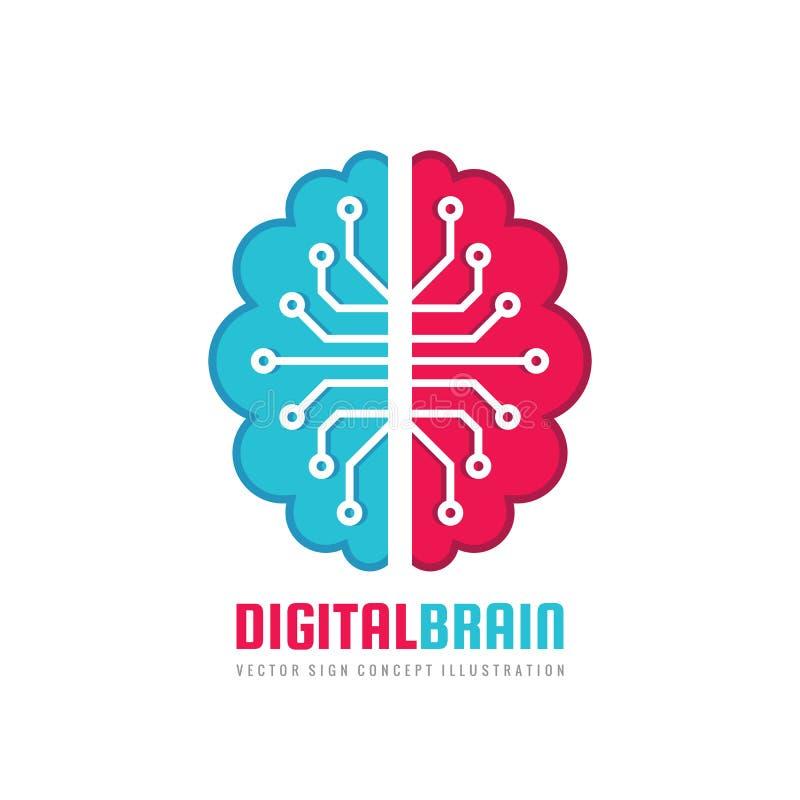 Digital mänsklig hjärna - illustration för begrepp för vektorlogomall Meningstecken Tänkande symbol för utbildning Idérik idésymb vektor illustrationer