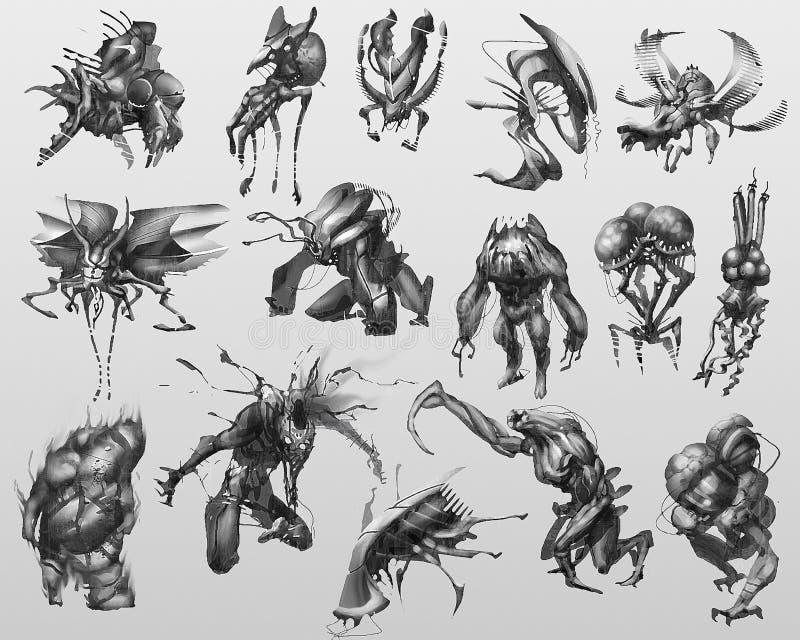 Digital målad varelse- och monsterbegreppsdesign royaltyfria bilder