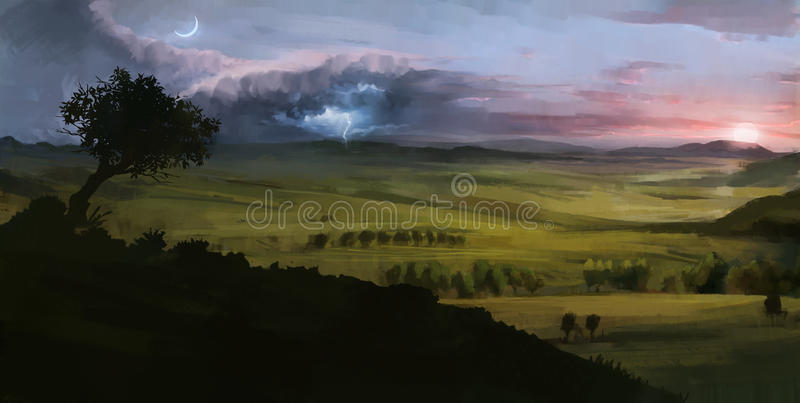 Digital målat landskap med den åskasolnedgång och månen royaltyfri bild