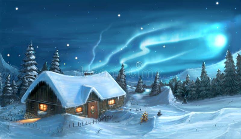 Digital målning av den snöig stugan för vinterjulnatt royaltyfri illustrationer