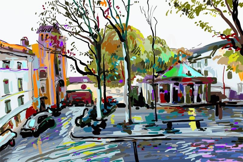 Digital målning av det Paris landskapet, samtida konst royaltyfri illustrationer