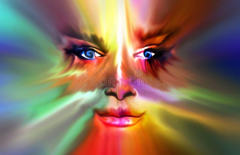 Digital målning av en färgrik uppdiktad kvinnlig framsida vektor illustrationer