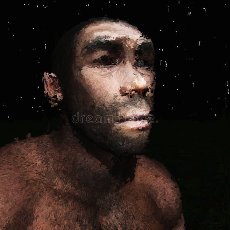 Digital målning av en förhistorisk man royaltyfri illustrationer