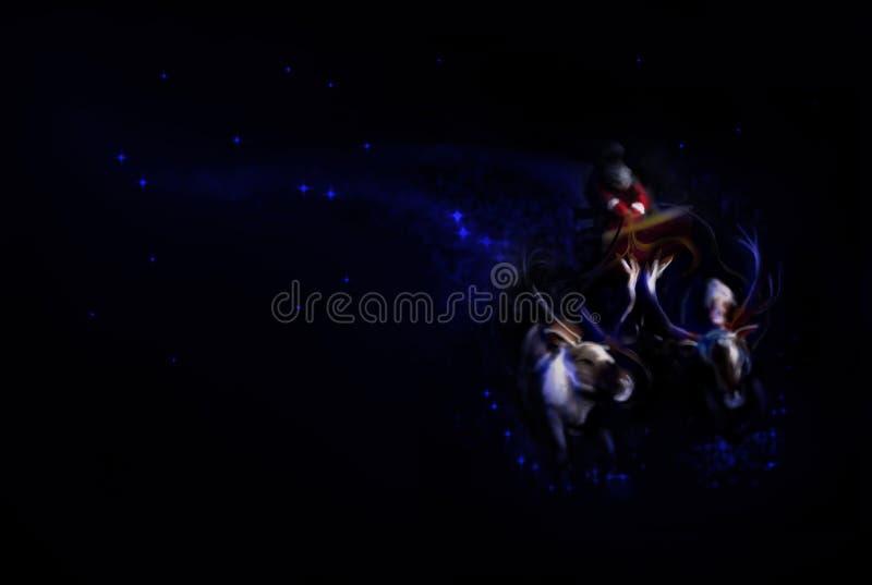 Digital målning av en flyga Santa Claus på en släde stock illustrationer