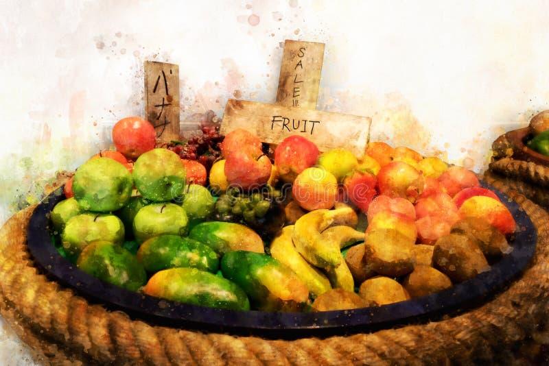 Digital målning av nya organiska frukter, vattenfärgstil vektor illustrationer