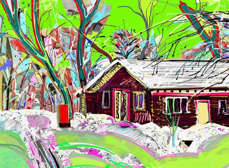 Digital målning av vinterlandskapet vektor illustrationer