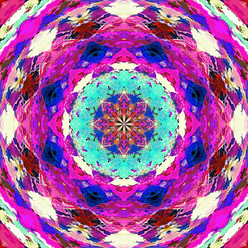 Digital målningabstrakt begrepp färgrika blom- Mandala Background vektor illustrationer