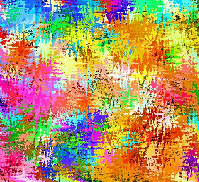 Digital målningabstrakt begrepp stänker borstemålarfärg i färgrik livlig vibrerande bakgrund för pastellfärgade färger vektor illustrationer