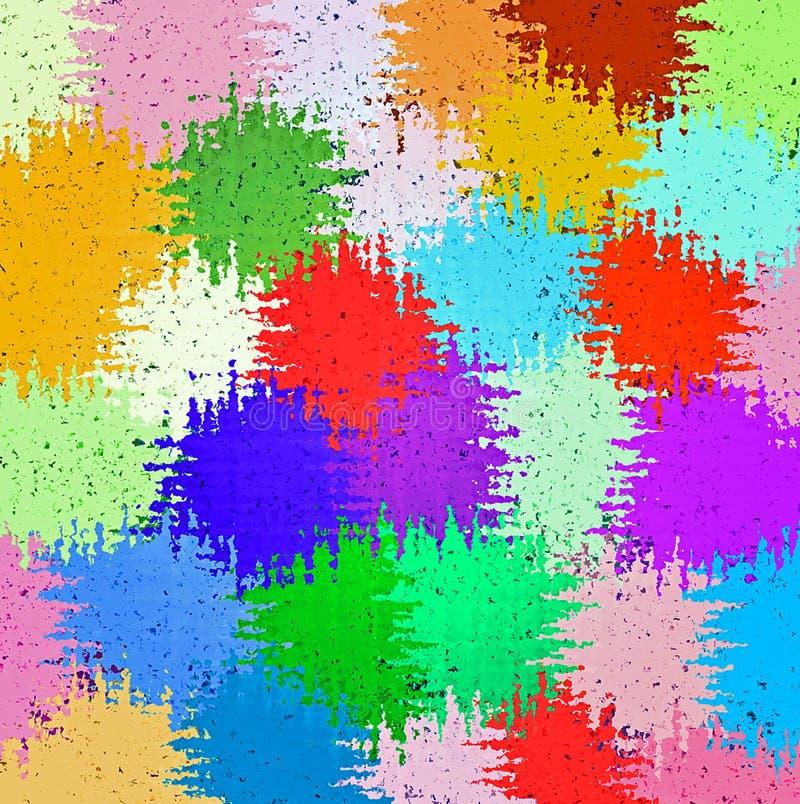 Digital målningabstrakt begrepp stänker borstemålarfärg i färgrik livlig vibrerande bakgrund för pastellfärgade färger stock illustrationer