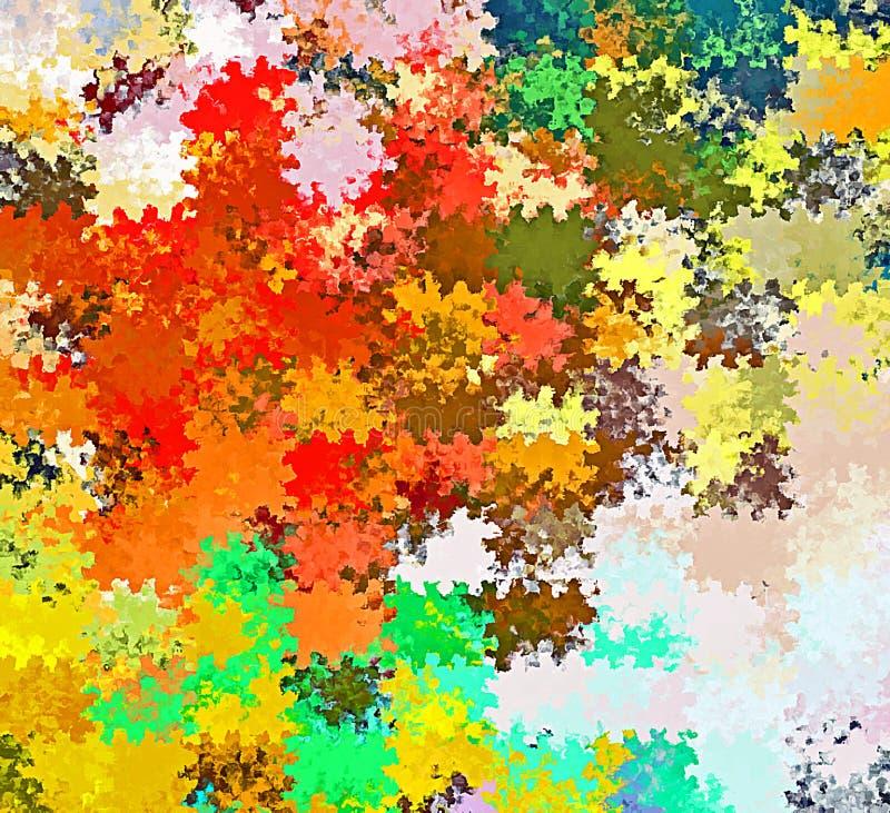 Digital målningabstrakt begrepp stänker kaotiska rektangulära modeller för borstemålarfärg i färgrik vibrerande bakgrund för past stock illustrationer