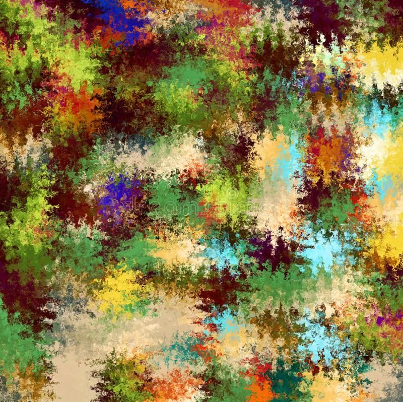 Digital målningabstrakt begrepp stänker målarfärg i färgrik livlig lantlig militär kamouflagefärgbakgrund vektor illustrationer