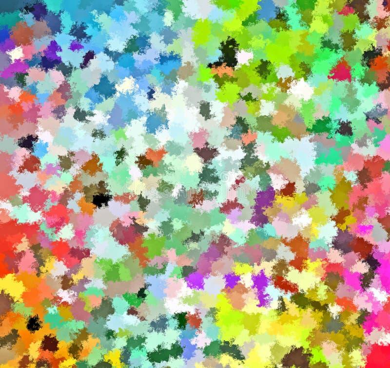 Digital målningabstrakt begrepp stänker målarfärg i färgrik vibrerande livlig bakgrund för pastellfärgade färger stock illustrationer