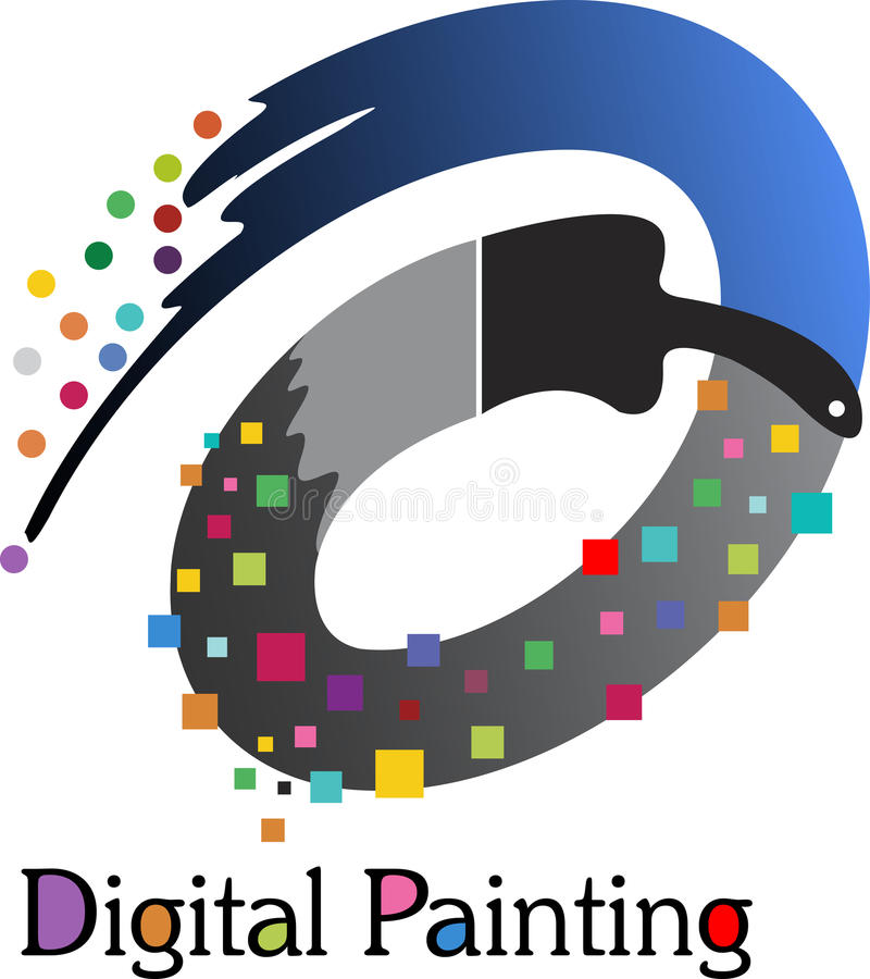 Digital målninglogo stock illustrationer