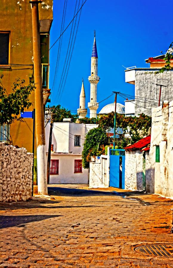 Digital-Malerei einer türkischen Dorfstraße vektor abbildung