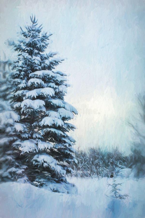 Digital-Malerei-Winter-immergrüner Baum-Hintergrund stockfotografie