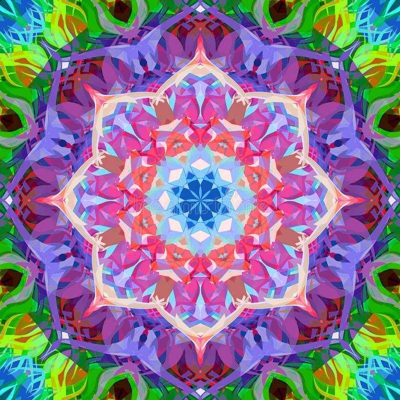 Digital-Malerei-Zusammenfassung bunte Blumen-Mandala Background stock abbildung