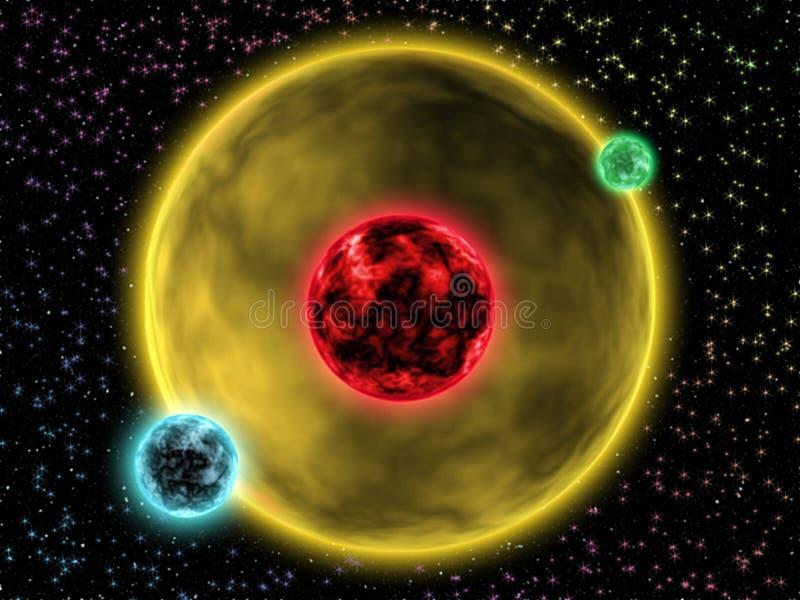 Digital-Malerei-Zusammenfassungs-Galaxie-Hintergrund - kleine Strahlungs-Sterne vor riesigem Stern im Weltraum lizenzfreie abbildung