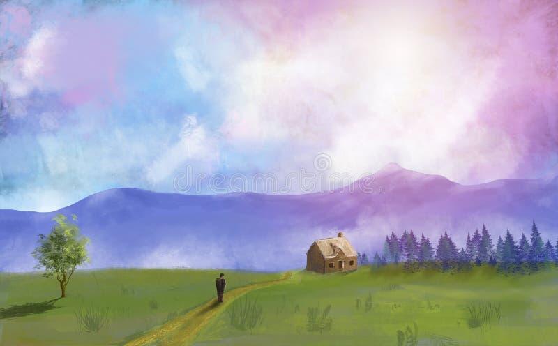 Digital-Malereiwiese, -bäume, -haus und -mann mit drastischem Himmel vektor abbildung
