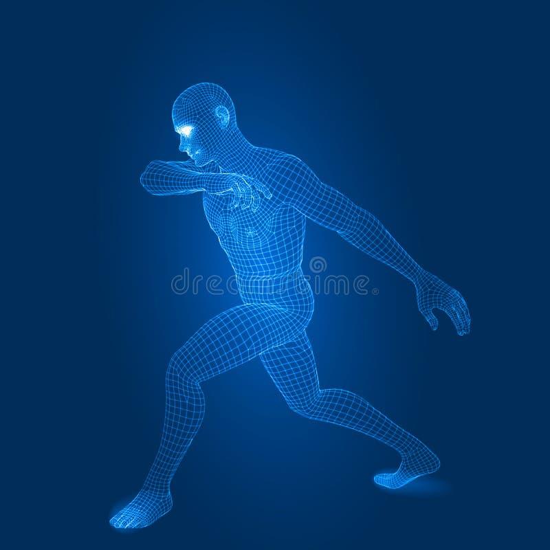 Digital-Mannzahl in der Kampfhaltung 3d wireframe Art-Vektorillustration lizenzfreie abbildung