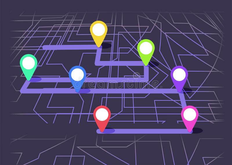 Digital map with colorfull seven points. The way of city navigation with the beginning and the end. Vector banner infographic vector illustration