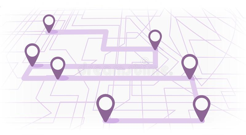 Digital map with colorfull seven points. The way of city navigation with the beginning and the end. Vector banner infographic royalty free illustration