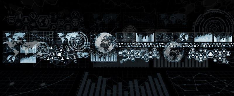 Digital mapy i parawanowy interfejs ilustracja wektor