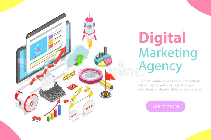 Digital marketing agency flat isometric vector. Digital marketing agency. Flat isometric vector concept of social network, SEM, media communication, SEO vector illustration
