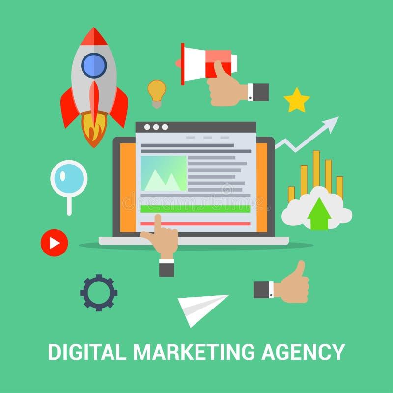 Digital marketing agency. Flat vector concept of social network. SEM, media communication, SEO royalty free illustration