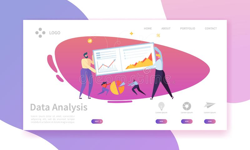 Digital Marketing Analysis Report Chart Landing Page. Business Strategy Analyzing for Progress by Character. Analytics royalty free illustration