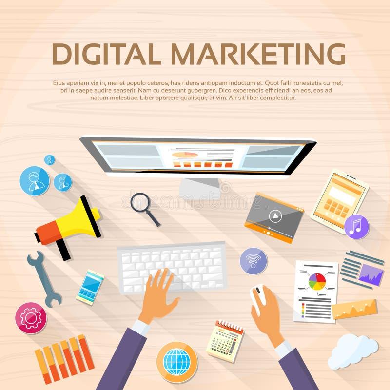 Digital-Marketing-Arbeitsplatz-Tischplattenarbeitsplatz lizenzfreie abbildung