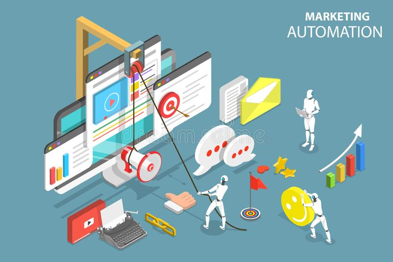 Digital marketing automation isometric flat vector concept. stock illustration