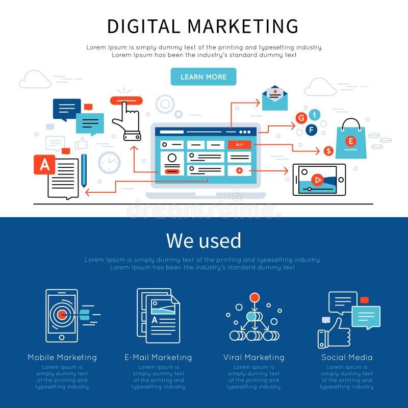 Digital Marketing Banner Set royalty free illustration