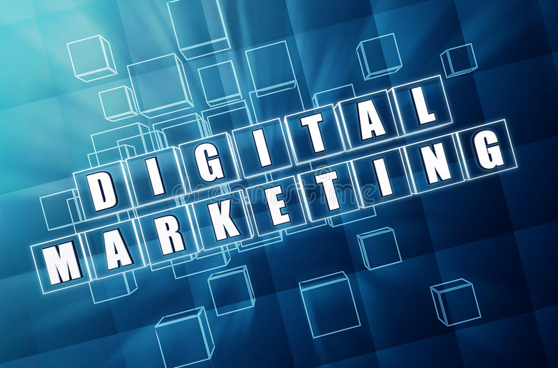 Digital marketing in blue glass cubes stock photo