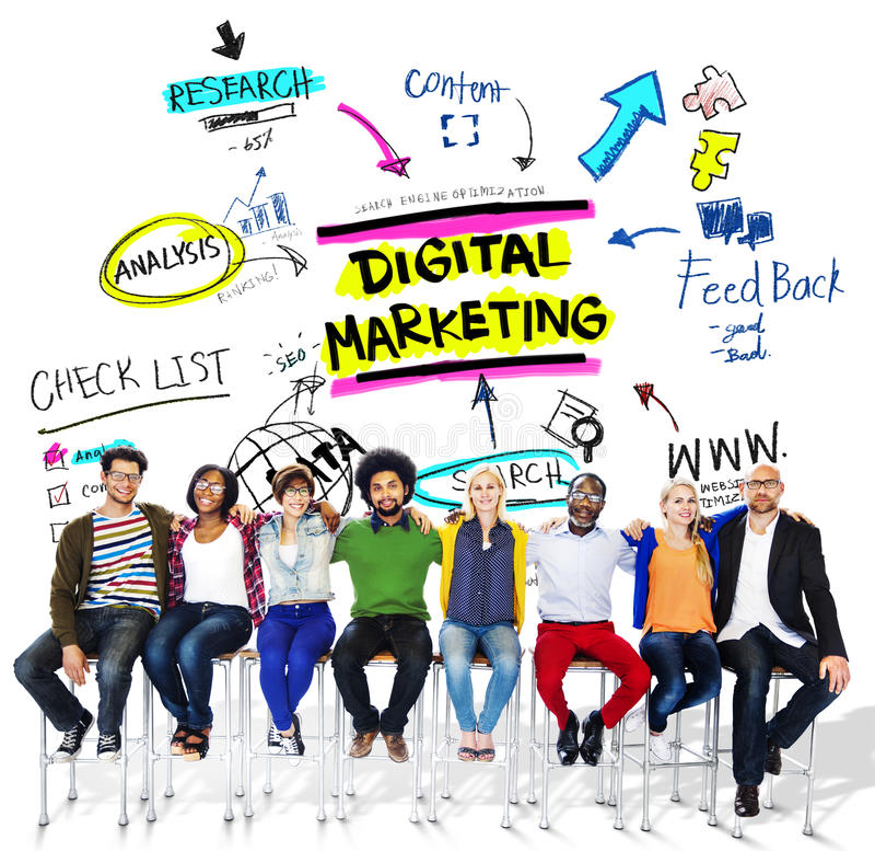 Digital-Marketing-Branding-Strategie-on-line-Werbekonzeption lizenzfreies stockfoto