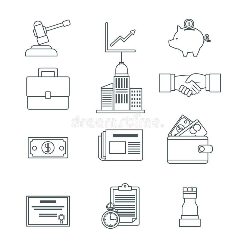 Digital marketing and business icons royalty free illustration