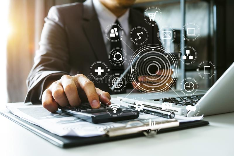Digital marketing Business making presentation stock photography
