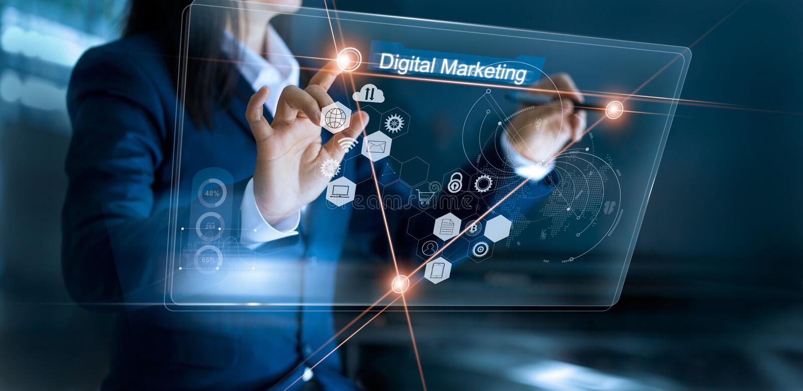 Digital marketing. Business woman drawing global structure stock images