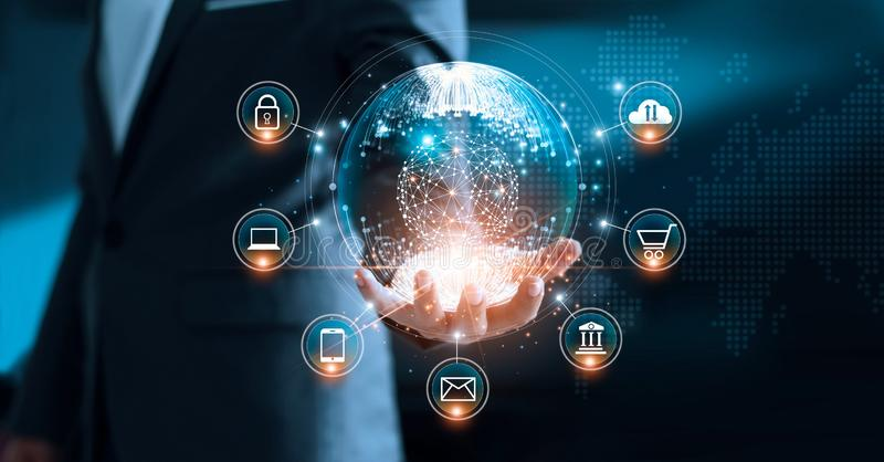 Digital marketing. Businessman holding global interface. Digital marketing. Businessman holding global circle modern interface payments online shopping and icon royalty free stock image