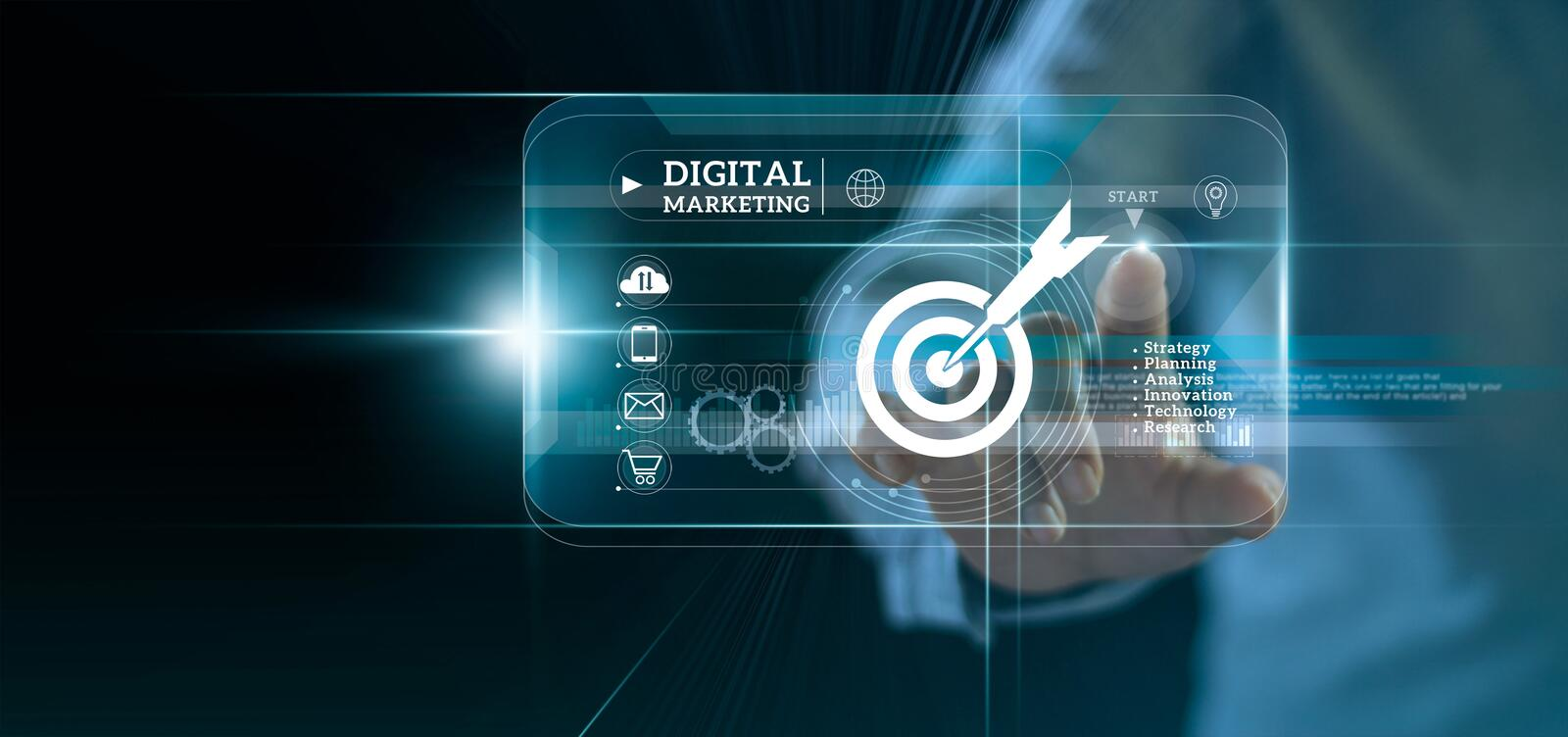 Digital marketing. Businessman touching start button on modern interface to business target and icon customer network connection royalty free stock photo