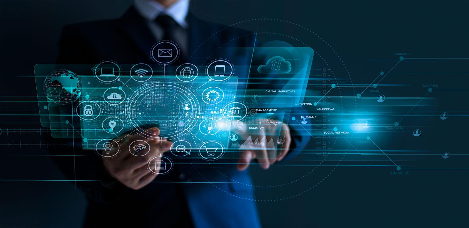 Digital marketing. Businessman using modern interface payments online shopping and icon. Customer network connection banking and payment online, analysis and royalty free stock image