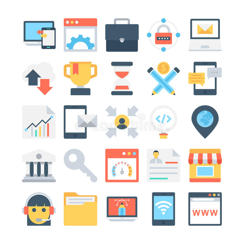 Digital Marketing Colored Vector Icons 4 royalty free illustration