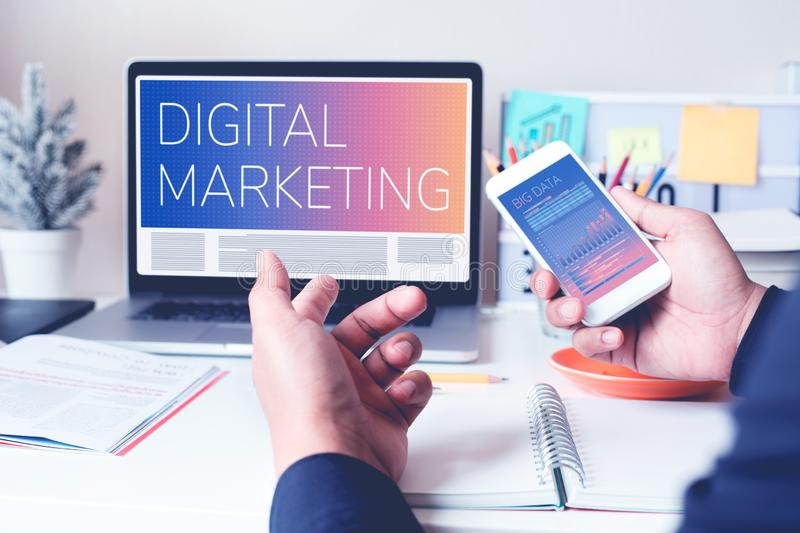 Digital marketing or communication concepts with young person work with computer laptop and smartphone stock photos