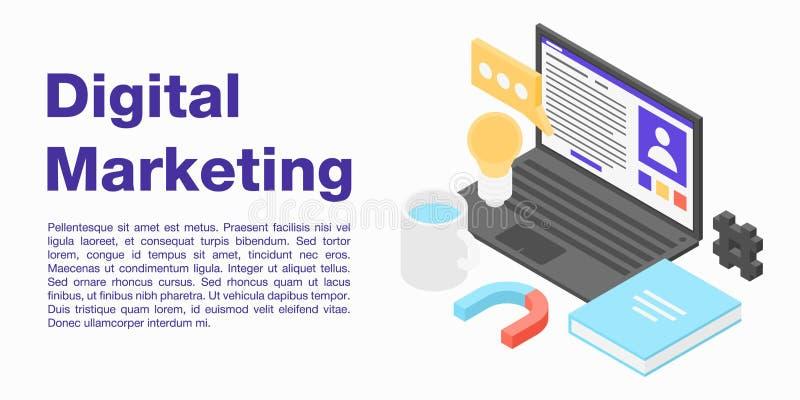 Digital marketing concept banner, isometric style royalty free illustration