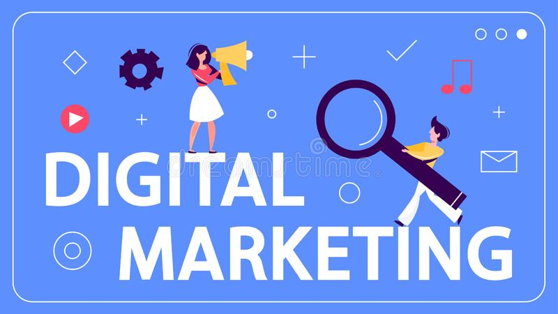 Digital marketing concept banner. Social network, media stock illustration