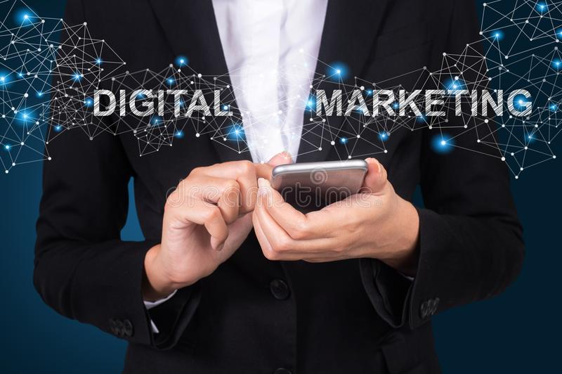 Digital Marketing concept, Businesswoman using mobile smart phone, Social, media.  royalty free stock images